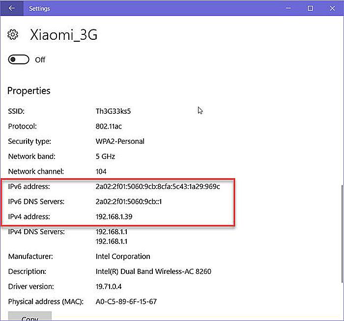 Список адресов IPv6 и IPv4, где IPv4 – IP-адрес устройства в сети