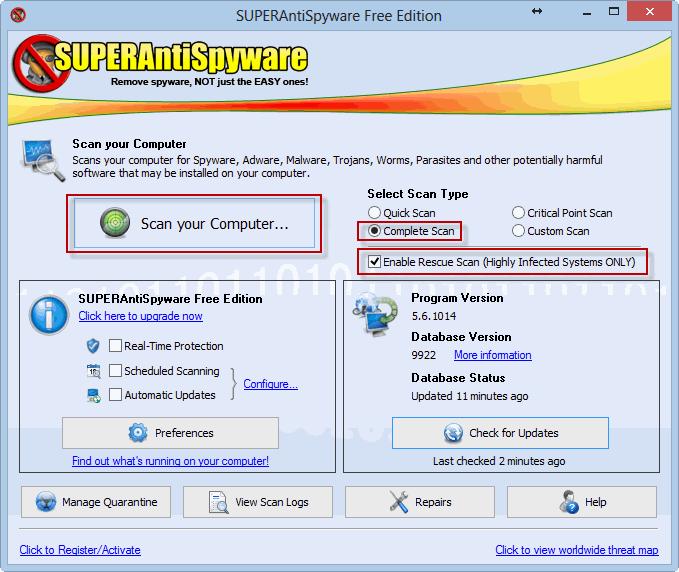 Ставим галочку и кликаем «Scan your Computer»
