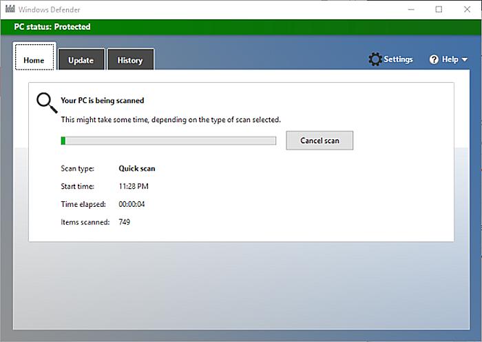 В Windows 10 можем использовать встроенный Defender