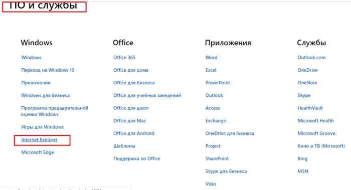 В разделе «ПО и службы» находим Internet Explorer, кликаем по нему