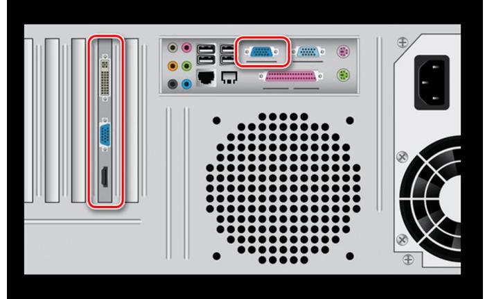 VGA-кабель закрепляем посредством обычных фиксаторов