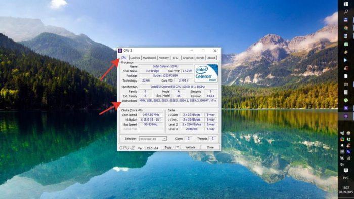 Во вкладке «CPU» в разделе «Instructions» проверяем наличие необходимых параметров