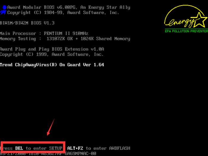 Во время загрузки системы нажимаем клавишу «Del» несколько раз