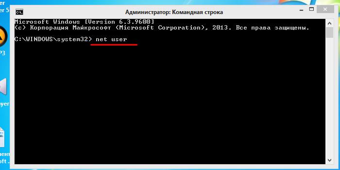 Вводим команду «net user», жмем «Enter»
