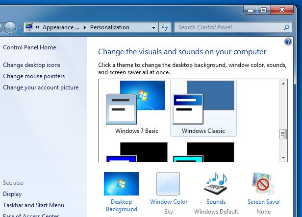 Выбираем в списке доступную тему «Windows 7 - упрощенный стиль»