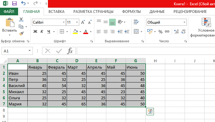 Выделяем таблицу или отдельные ячейки для построения графика