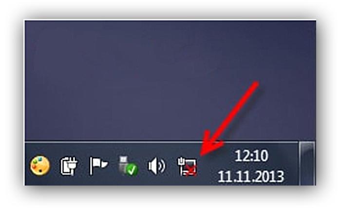 Если специальный значок, расположенный на панели задач с красным крестиком, значит компьютер не видит интернет-кабель