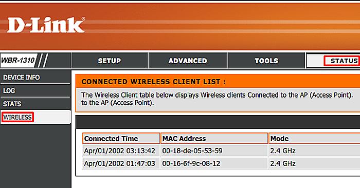 Открываем раздел «Status», переходим в подпункт «Wireless», смотрим список подключенных устройств