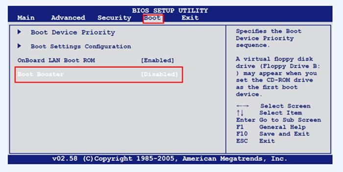 Переходим во вкладку «Boot», задаем значение «Disabled» напротив параметра «Boot Booster»
