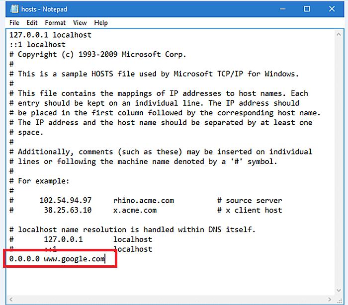 После последней записи с символом вводим # ввести: 0.0.0.0 [имя домена]