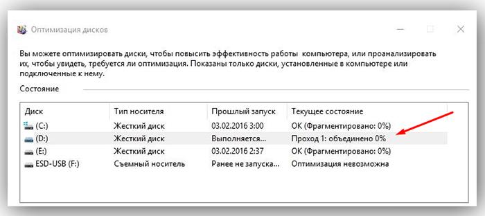 При оптимизации выбранных разделов будет видно их текущее состояние в столбце «Прошлый запуск» и прогресс выполнения, выраженный в процентах в столбце «Текущее состояние»