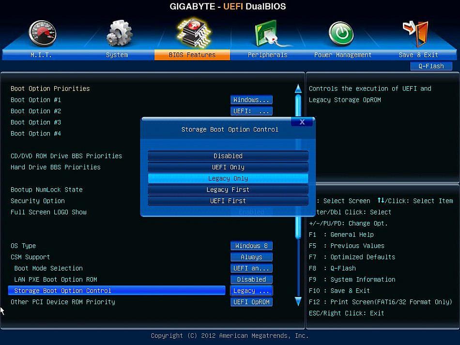 Работа режима UEFI предполагает использование дисков GPT
