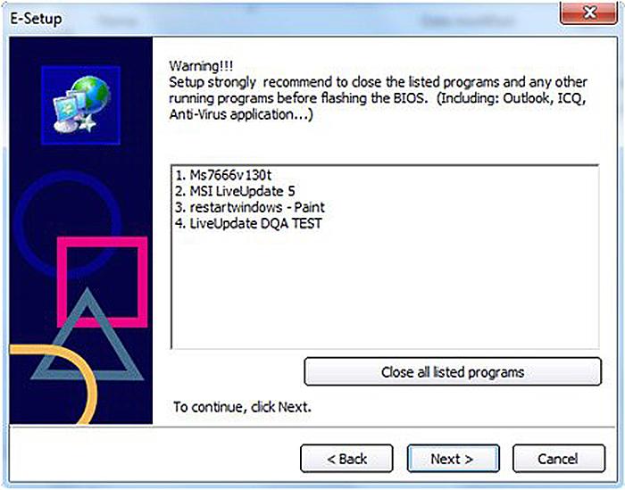 Щелкаем «Close all listed programms», через некоторое время нажимаем «Next»