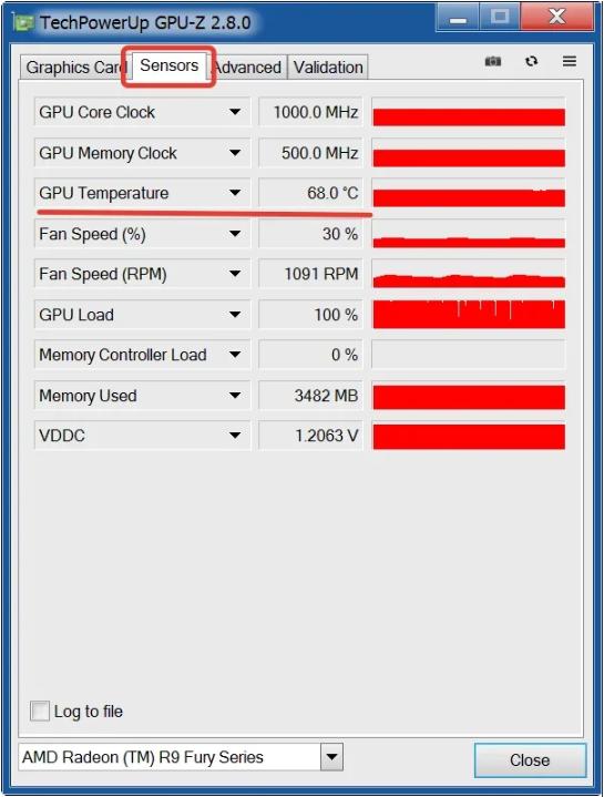Щелкаем закладку «Sensors» и смотрим в пункте «GPU Temperature» на температуру графического процессора