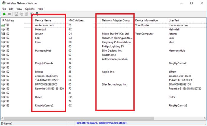 Смотрим на столбцы «Device Name» и «Network Adapter Company», чтобы определить среди представленных «свои» устройства
