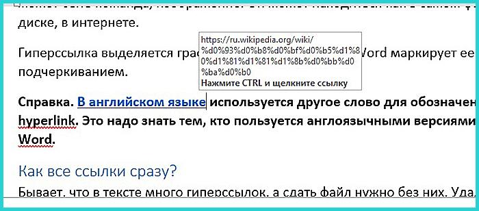 Гиперссылка маркирована синим цветом и подчеркиванием, а если навести курсор появляется путь к файлу, имя веб-страницы