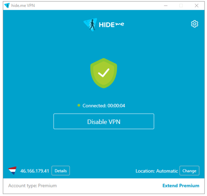 Интерфейс программы HideMe VPN