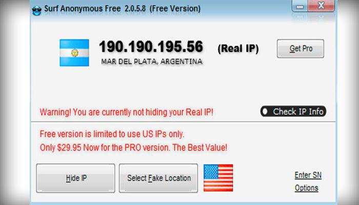 Интерфейс программы Surf Anonymous Free