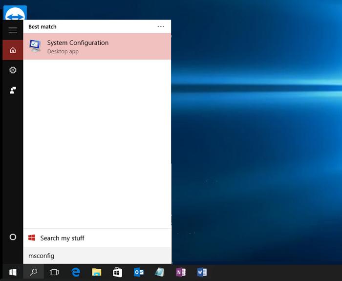 Нажимаем кнопку поиска рядом с кнопкой «Пуск», набираем в строке «msconfig», щелкаем по найденной программе «System Configuration»