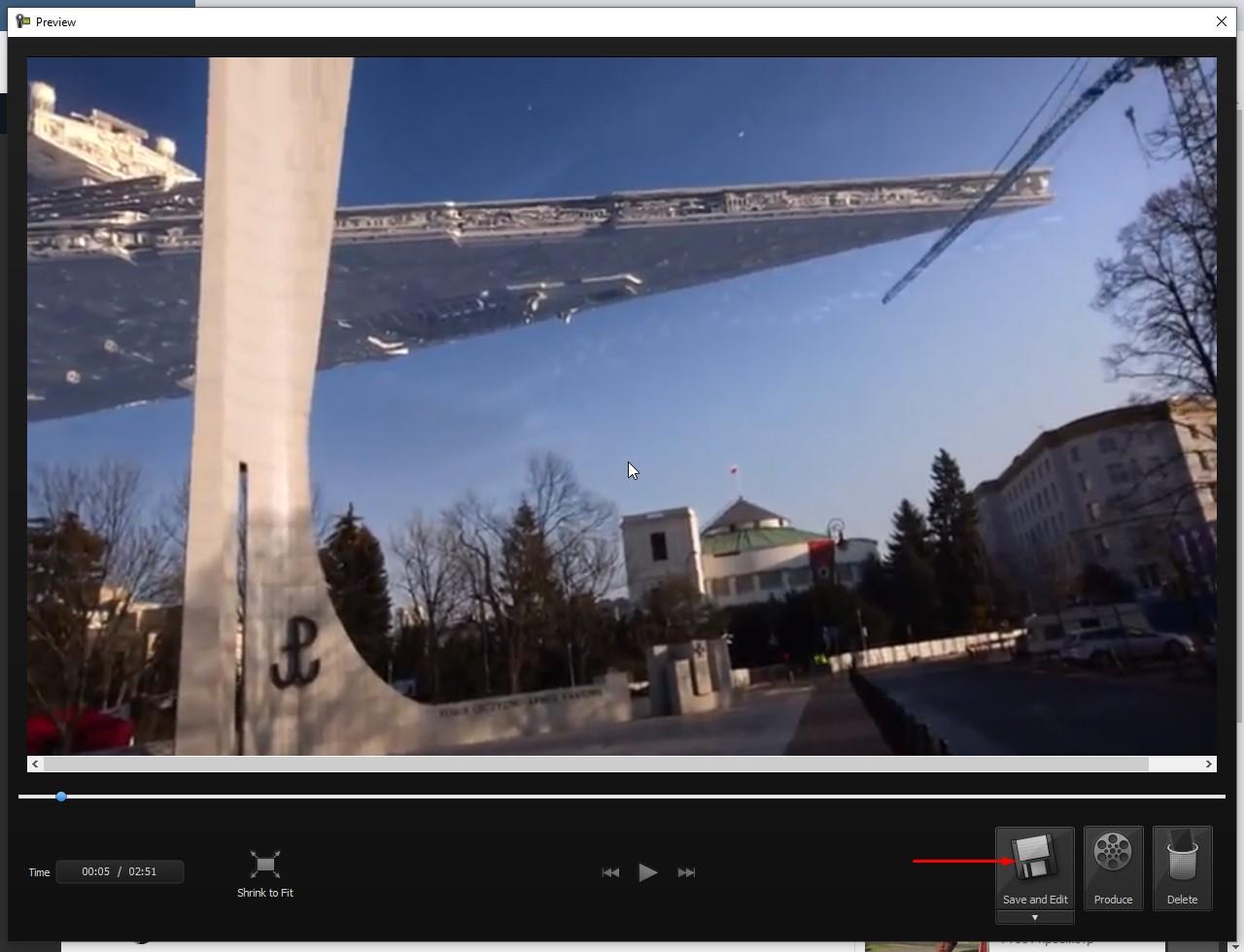 Окно с предосмотром видео