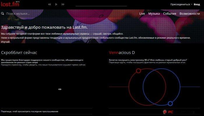 Популярный музыкальный сервис Lastfm.ru