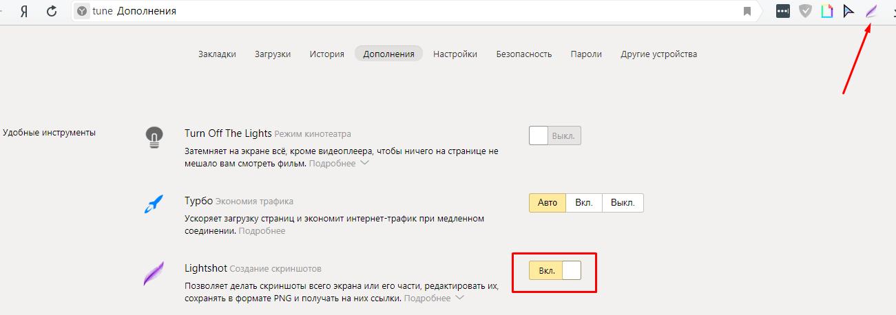 После активации значок расширения появится на панели браузера