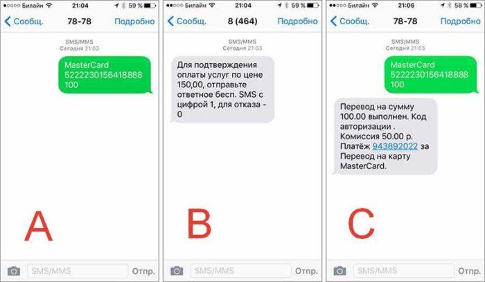 Процесс перевода денег с мобильного на карту
