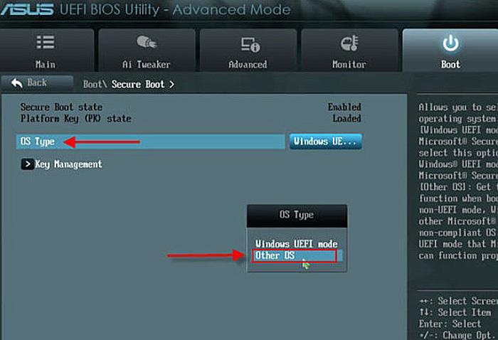 Переключаем параметр «Secure Boot» в положение «Other OS»