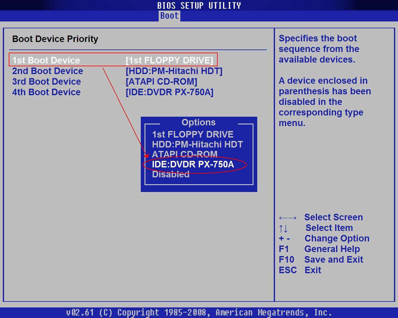 Выделяем строку, с названием DVD-привода, перемещаем ее клавишами «+»-«-» на строку «1st Boot Device»