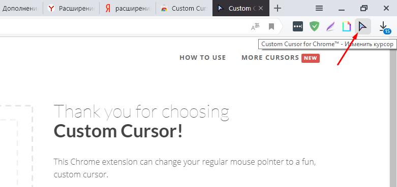 Закрываем страницу сайта разработчика, на панели браузера находим значок установленного расширения