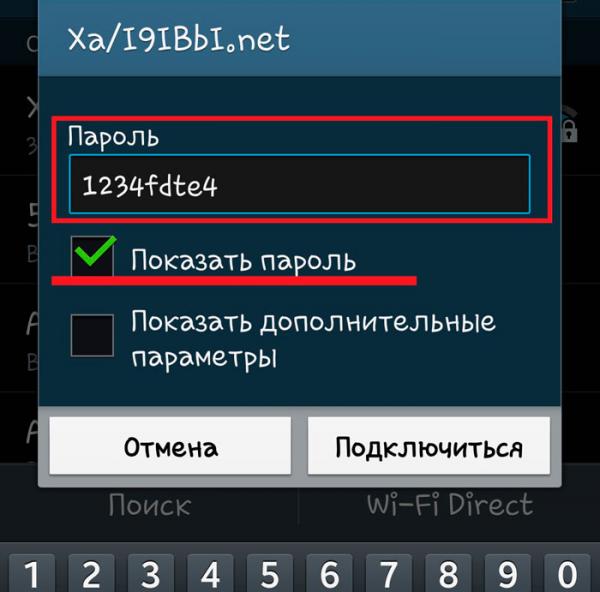 Для исключения ошибки введения пароля активируем индикацию набранных символов