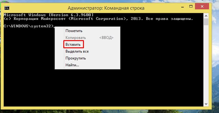 Кликаем в строке консоли правой кнопкой мышки, затем левой кнопкой мышки по опции «Вставить»