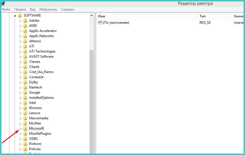 Находим и раскрываем папку «Microsoft»
