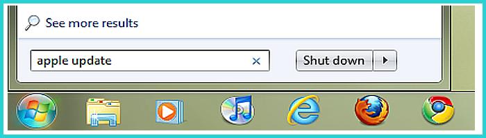Нажимаем на строке поиска в меню кнопки «Пуск», набираем в строке Apple Update