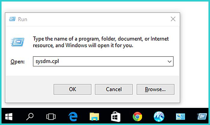 Печатаем в строке «sysdm.cpl» и нажимаем «Enter»