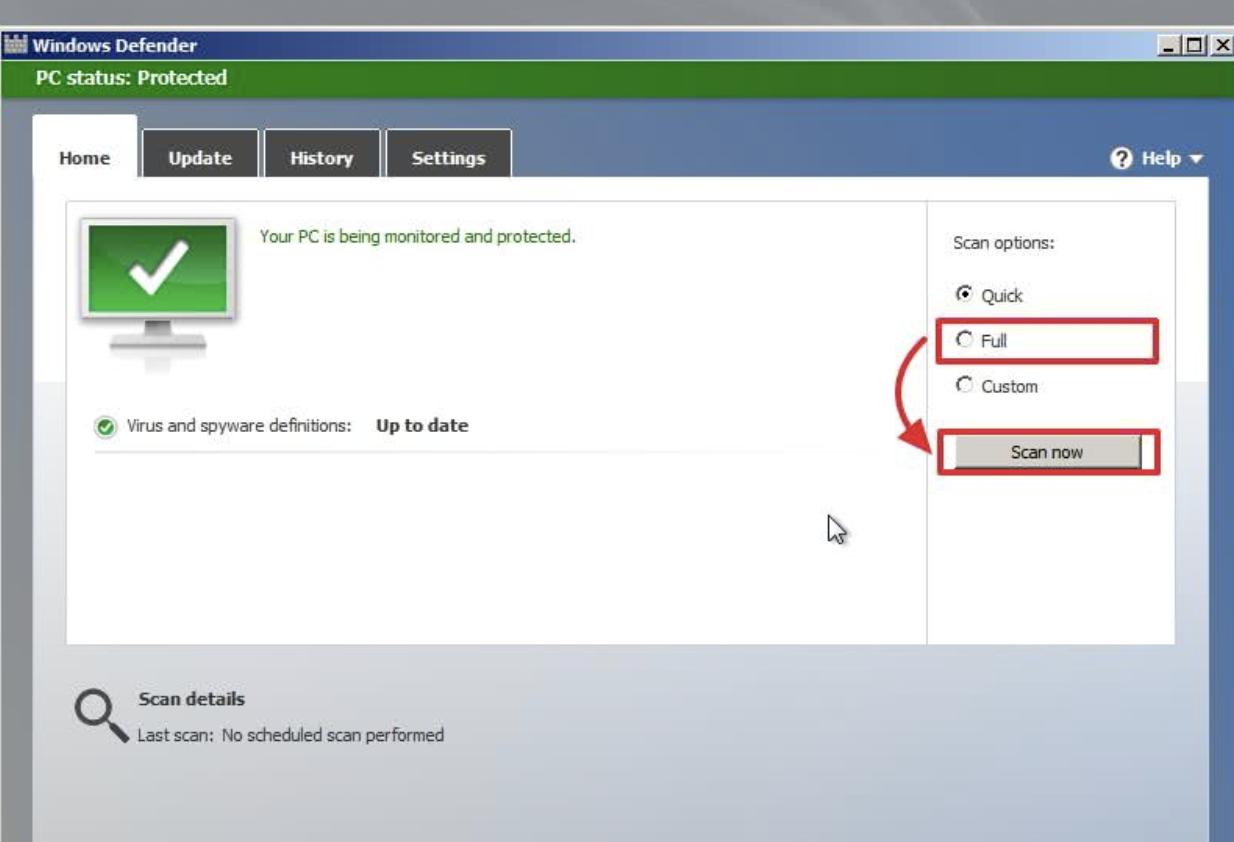 Переставляем указатель сканирования из «Quick» в «Full» и нажимаем «Scan Now»