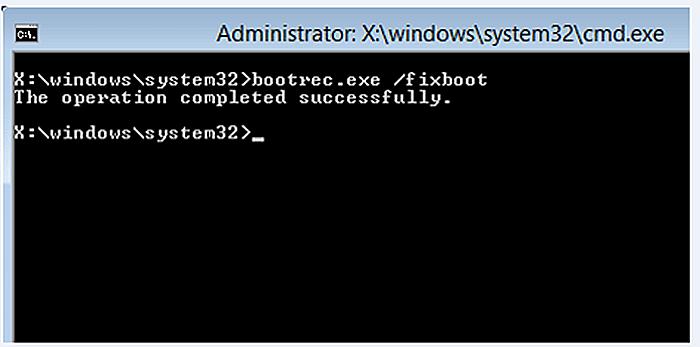 Повторяем запуск команды «bootrec /fixboot»
