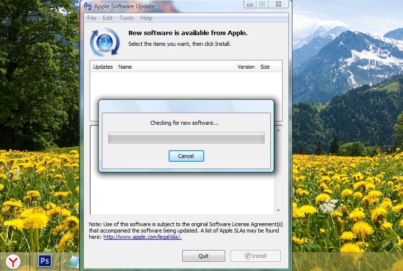Процесс автоматического поиска обновлений ПО Apple на ПК