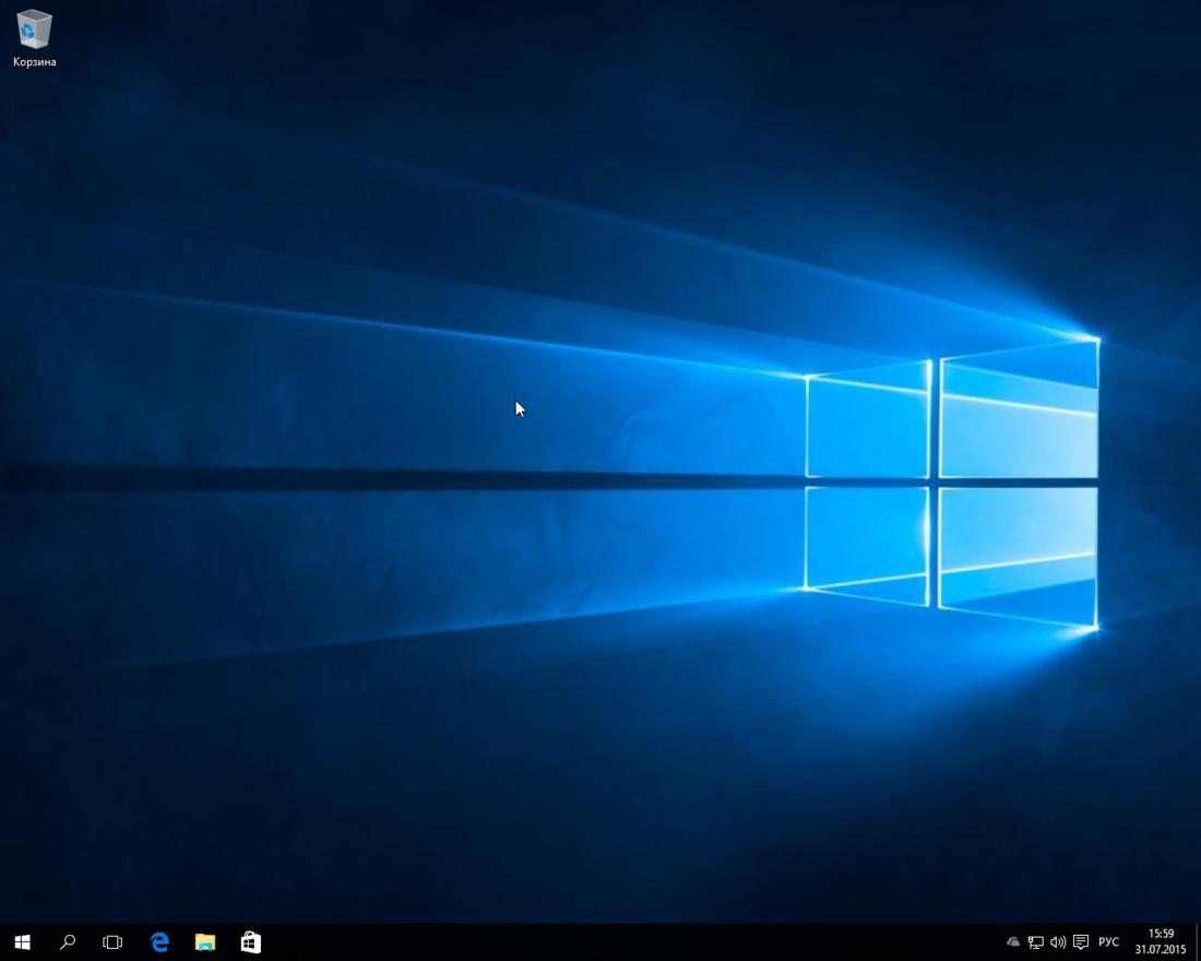 Рабочий стол Windows 10 после переустановки
