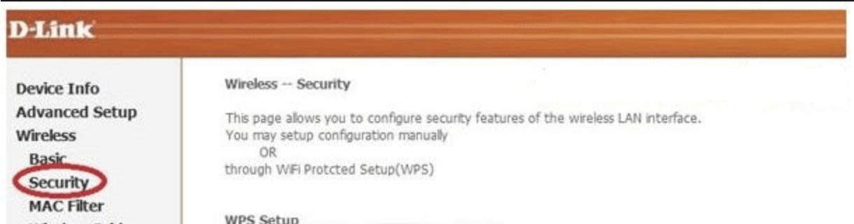 Раскрываем раздел «Wireless», затем подраздел «Security»