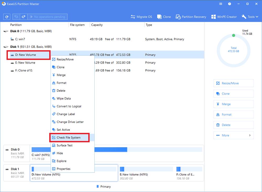 Щелкаем в «Partition Master» правой кнопкой мыши на разделе, который нужно проверить, и выбираем «Check File System»