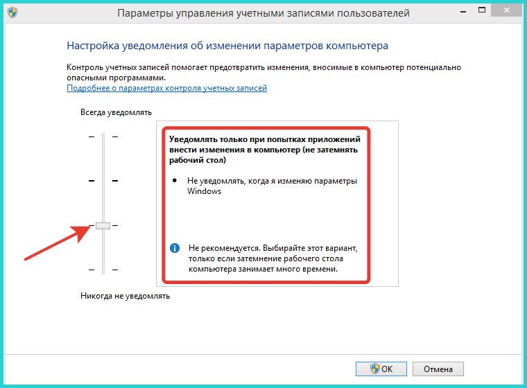 Третий параметр уведомляет пользователя о попытке внесения изменений приложением, не рекомендуемый для выбора