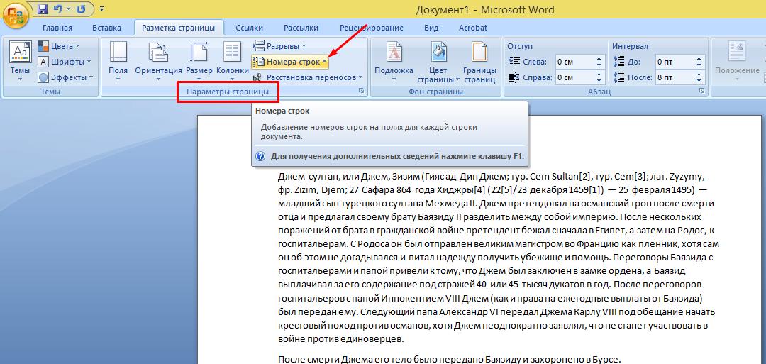 В разделе «Параметры страницы» находим опцию «Номера строк» и кликаем по ней левой кнопкой мышки