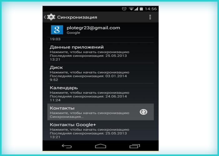 Нажимаем на «Контакты» для автоматической синхронизации всех контактов
