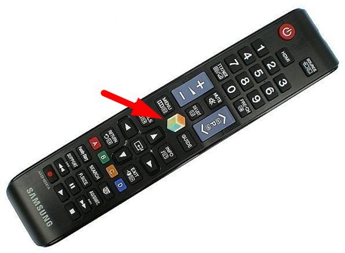 Для включения Smart Hub на пульте дистанционного управления есть специальная кнопка