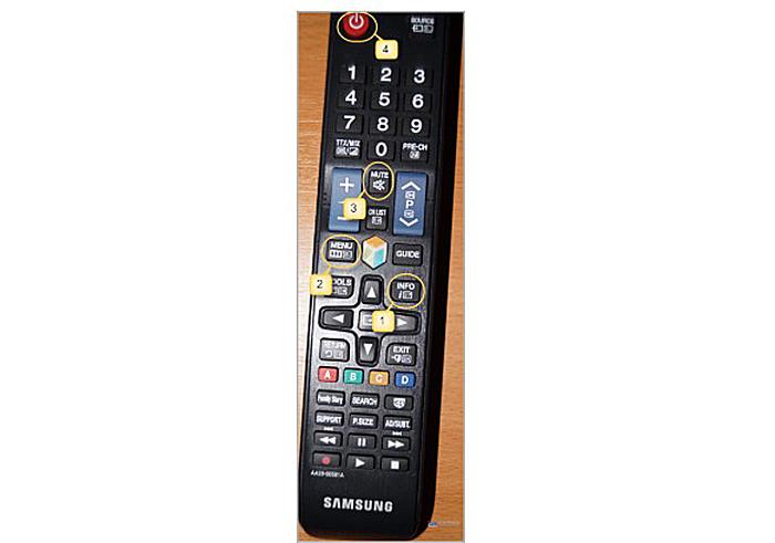 Не включая телевизор, поочередно нажимаем кнопки с функциями «Info», «Menu», «Mute», «Power»