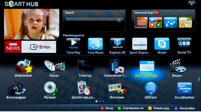 Smart Hub - фирменная технология Samsung, внедряемая в «умные телевизоры»