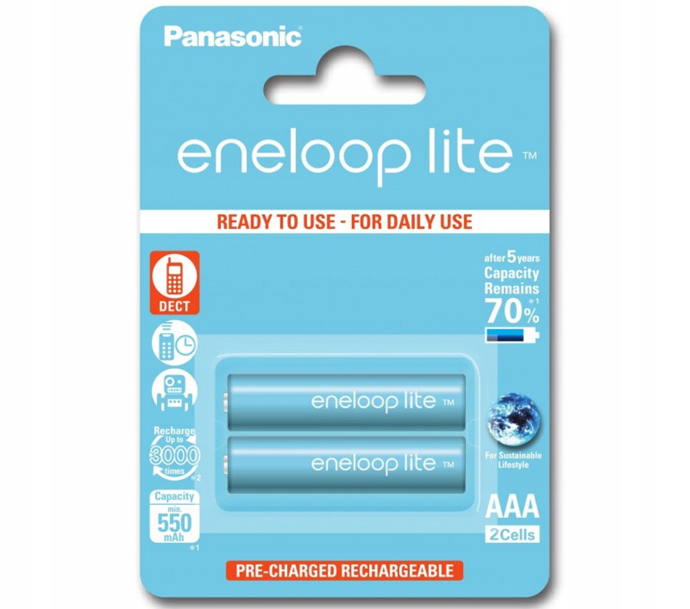 Аккумулятор Panasonic Ni-MH eneloop lite AAA 550mAh BL2 (BK-4LCCE/2BE)