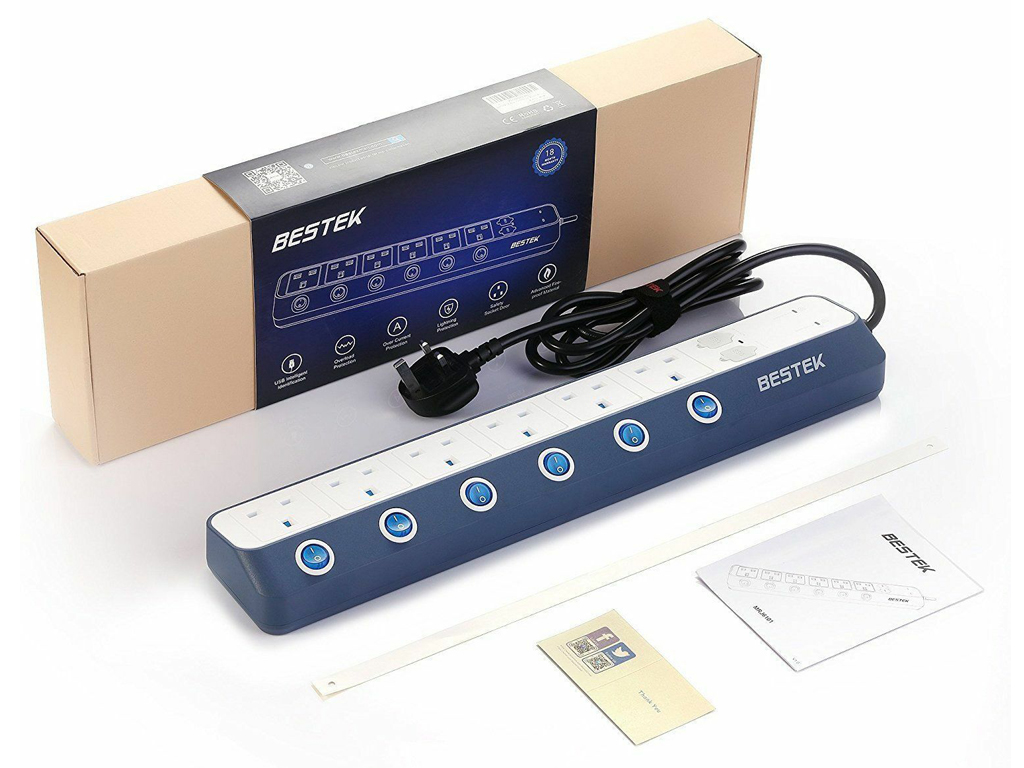 Bestek EU power strip MRJ6404 black blue