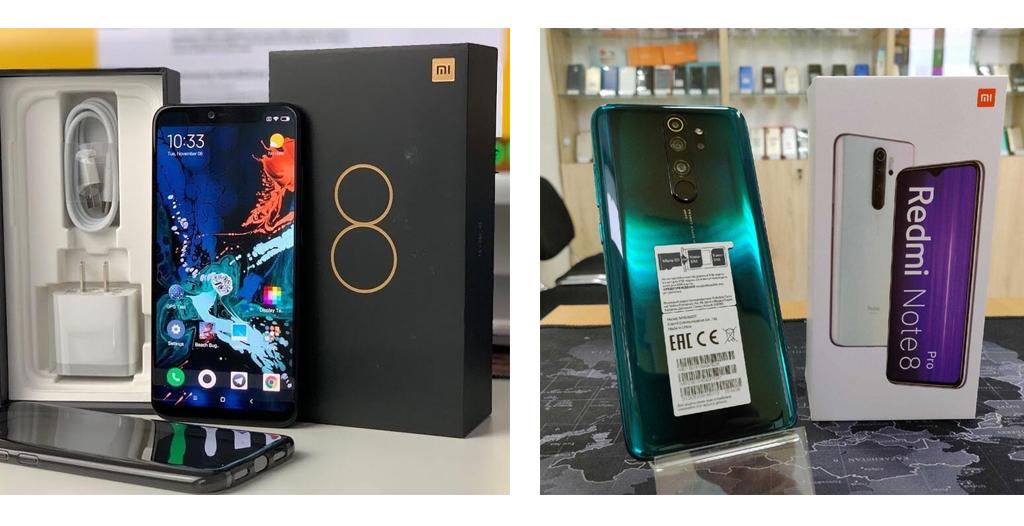2 разные модели смартфонов Xiaomi Mi 8 и Xiaomi Mi 8 Pro